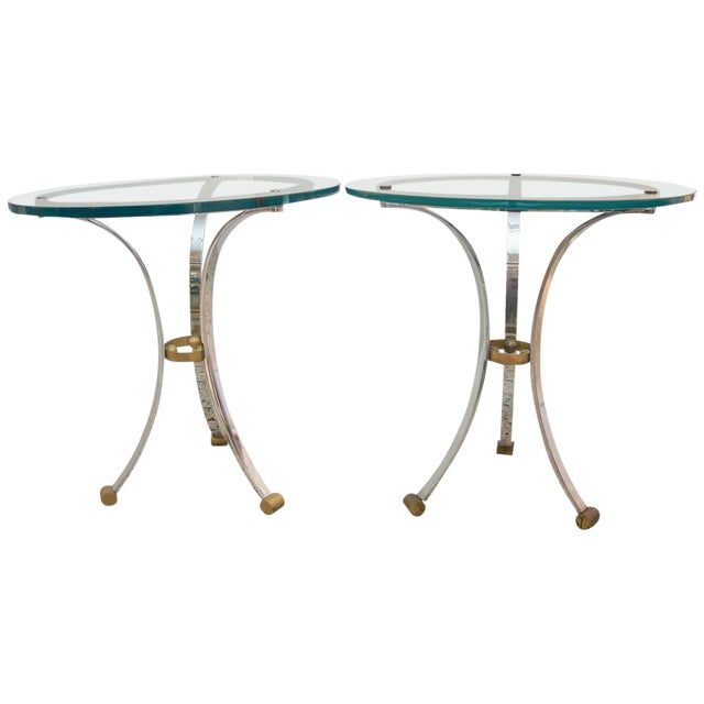Mid-Century Round Gueridon French Side Tables by Maison Jansen - a Pair For Sale