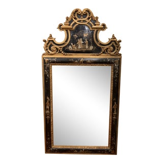 Mirror Fair Artisans Chinoiserie Black and Gold Mirror With Beveled Glass For Sale