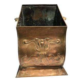 19th Century Art Nouveau Copper Coal Shuttle Planter For Sale