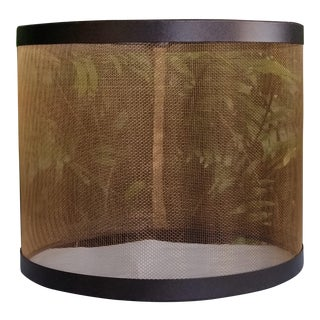 Mesh Drum Lampshade With Bronze Screen and Steel Trim For Sale