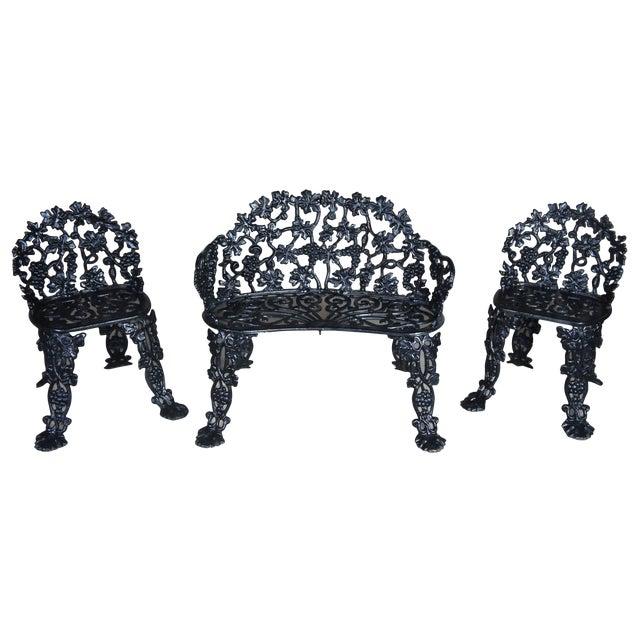 Antique Victorian Cast Iron Grape Vine Garden Furniture-Set Of 3 For Sale