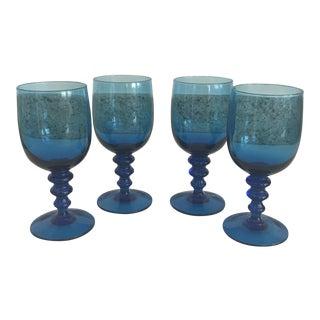 Vintage Blue Stem Glasses - Set of 4 For Sale