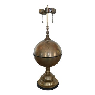 Round Brass Lamp by Chapman For Sale