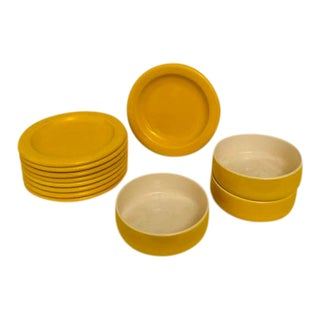 Mid-Century Yellow Mikasa Plates & Bowls - Set of 12 For Sale