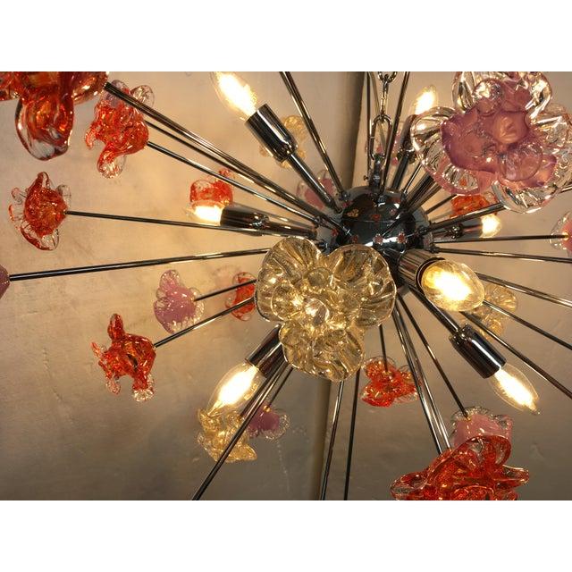 Murano Murano Glass Sputnik Flower Chandelier For Sale - Image 4 of 8