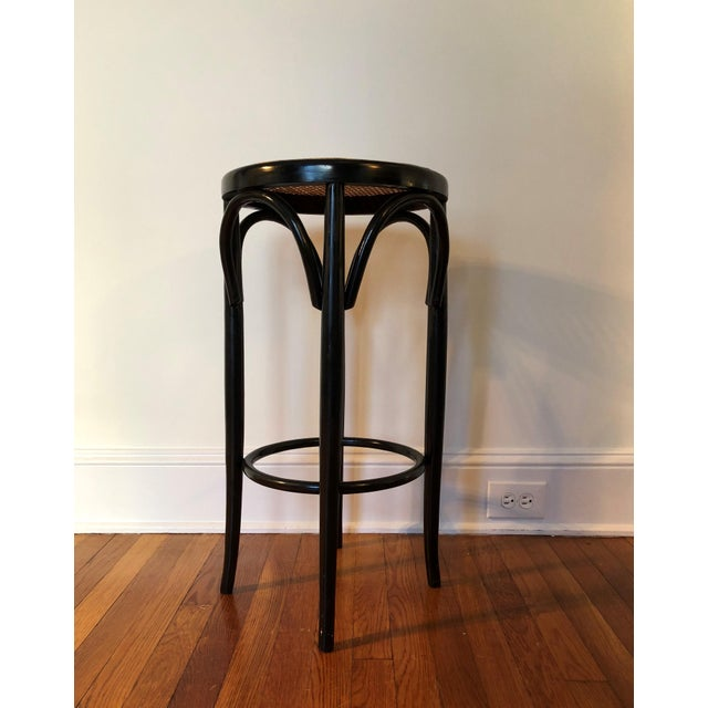 Talian Antique Bentwood and Cane Cafe Stool For Sale - Image 4 of 10