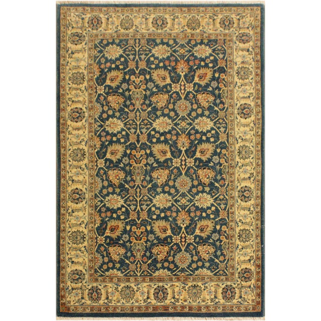 Ivory Shabby Chic Istanbul Gilbert Teal/Ivory Turkish Hand-Knotted Rug -4'2 X 5'11 For Sale - Image 8 of 8