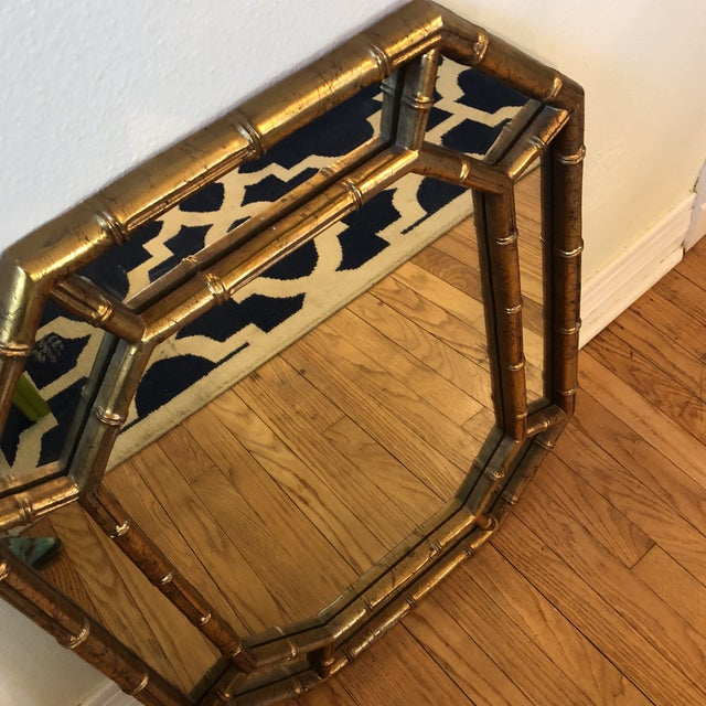 1960s Faux Bamboo Octagon Mirror For Sale - Image 5 of 8