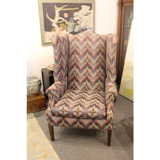 Purple Late 20th Century Flame Stitch Wing Chair For Sale - Image 8 of 8