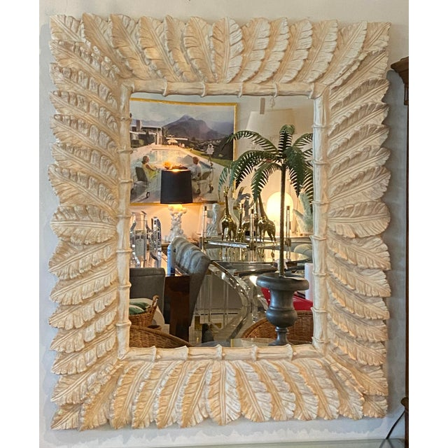Vintage Tropical Palm Tree Leaf Leaves Faux Bamboo Wall Mirror For Sale - Image 4 of 9