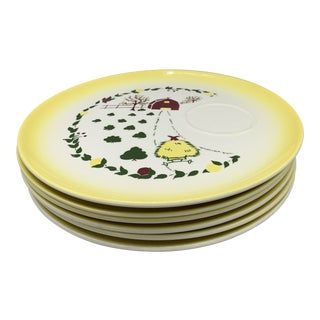 1950s Brock Pottery's California Farmhouse Snack Plates - Set of 6 For Sale