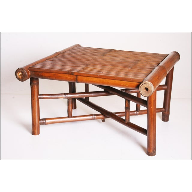Vintage Brown Bamboo Coffee Table - Image 2 of 11