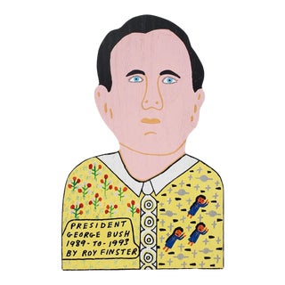 """Roy Finsters (American, 20th C.) """"President George Bush"""" Outsider Art For Sale"""
