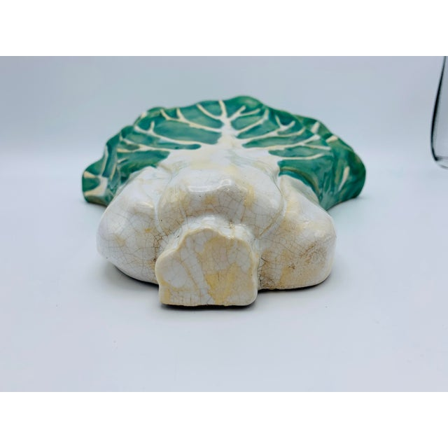 1960s 1960s Vintage Green and White Ceramic Bok-Choy Wall Pocket For Sale - Image 5 of 11