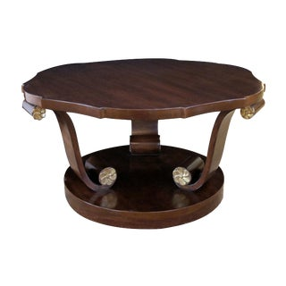A Handsome American Art Deco Style Mahogany Cocktail Table With Scrolled Legs For Sale