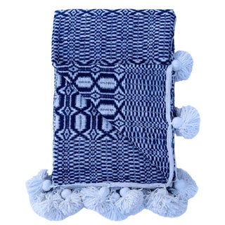 Moroccan Woven Indigo and White Pom Blanket For Sale