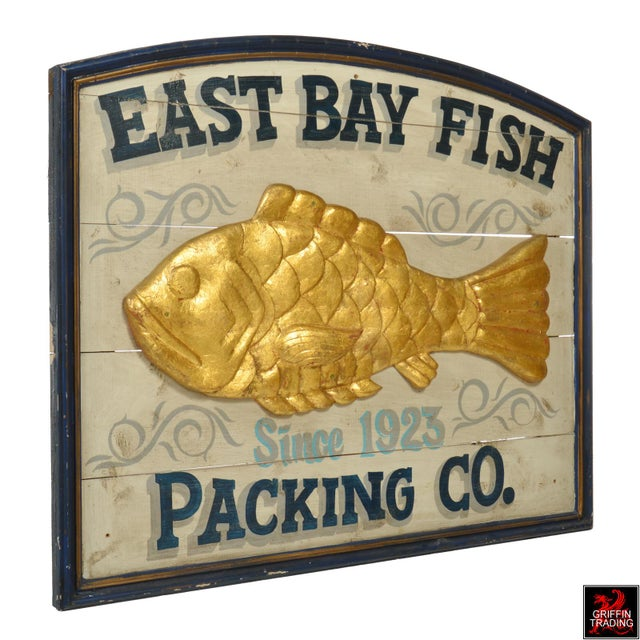 Adirondack East Bay Fish Packing Company Trade Sign For Sale - Image 3 of 11