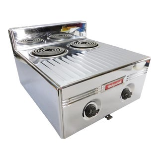Vintage Chrome GE Hotpoint 2-Burner Diner Stove