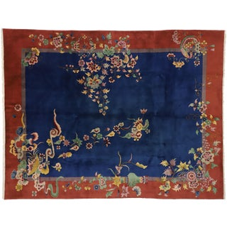1920s Antique Chinese Art Deco Rug -8′9″ × 11′2″ For Sale