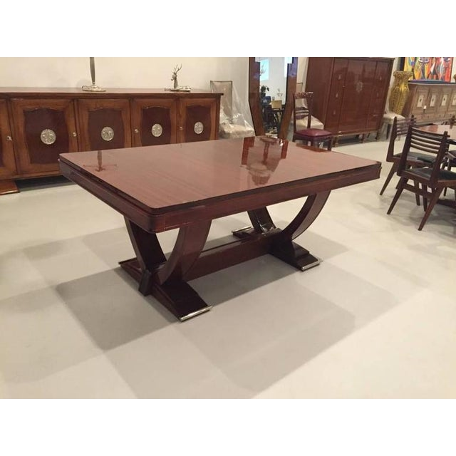 Stunning Gaston Poisson French Art Deco Dining Table With A High Polish Finish Having
