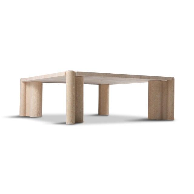 Gae Aulenti Gae Aulenti Jumbo Travertine Square Coffee Table For Sale - Image 4 of 9