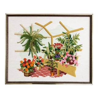 Vintage Houseplant Needlepoint Embroidery For Sale