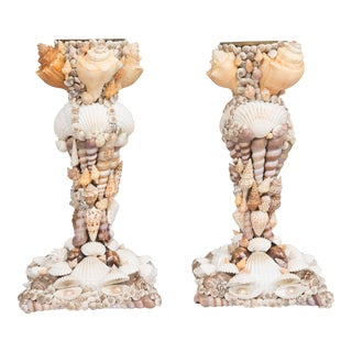 Custom Shell-Encrusted Candlesticks For Sale