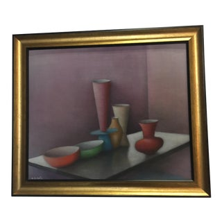Mid 20th Century Still Life Oil on Board by Alfredo De Curtis For Sale