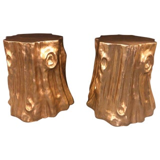 Modern Gold Nature-Inspired Tree Trunk End Tables - a Pair For Sale