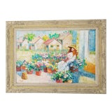 Image of 1960's G. Rosetti Colorful Oil Palette Figurative Abstract Painting For Sale
