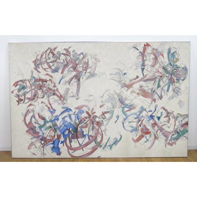 Peter Bardazzi Abstract Acrylic & Charcoal on Canvas, Signed & Dated 1972 For Sale In Los Angeles - Image 6 of 6