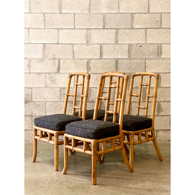 Camel Vintage Coastal Bamboo Grid Dining Chairs - Set of Four For Sale - Image 8 of 8