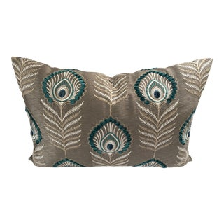 """Jane Churchill Teal & Taupe Goose Down Insert Pillow 24.5"""" X 16.5"""" For Sale"""