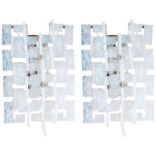 Mid-Century Modernist Iridescent Interlocking Sconces By Mazzega For Sale