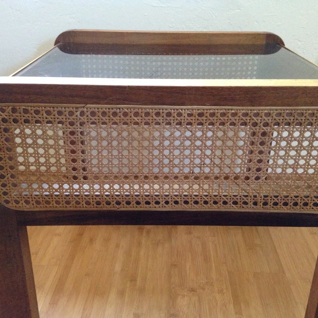 Teak and Rattan Side Table - Image 6 of 8