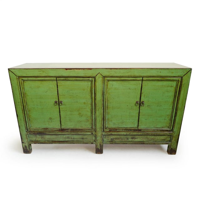 Beautiful vintage style distressed fern green sideboard. Removable pine wood shelves and iron ring hardware. Each is...