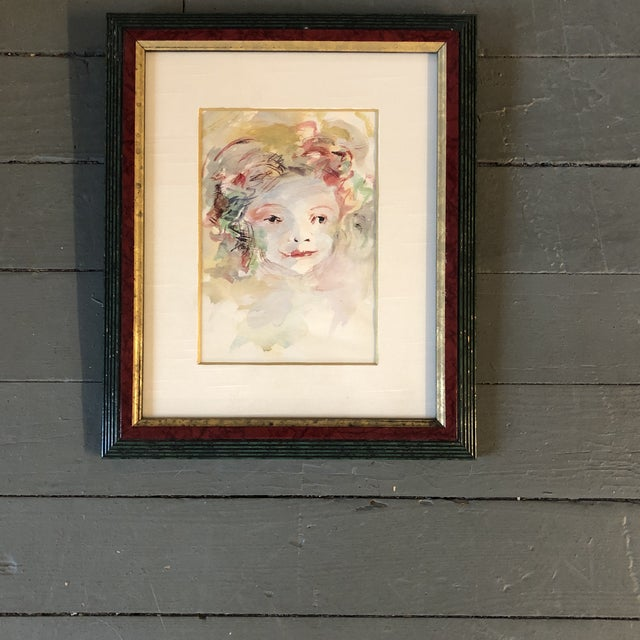 Vintage Original Watercolor Portrait Young Girl For Sale In Philadelphia - Image 6 of 6