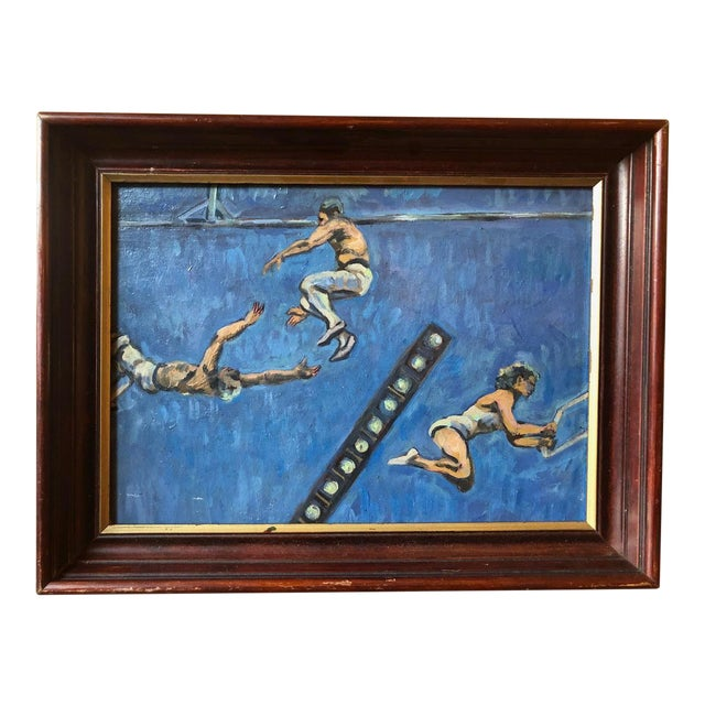 Acrobats Oil on Board by A. Smith For Sale