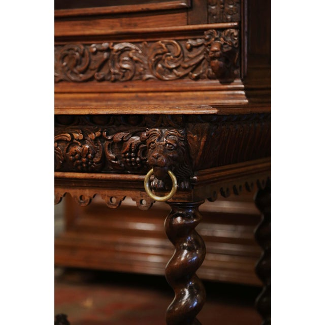 Brown Mid-19th Century French Louis XIII Heavily Carved Oak Secretary Bookcase Desk For Sale - Image 8 of 13