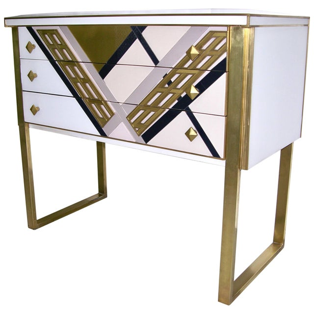 1990s Italian White Black and Gold Chest Sideboard on Brass Legs For Sale - Image 10 of 10