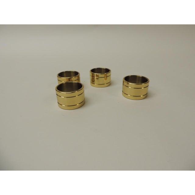 Ralph Lauren Set of 4 Solid Brass Ralph Lauren Ribbon Napkin Holders For Sale - Image 4 of 5