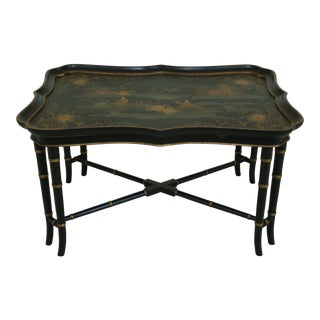 Chinoiserie Paint Decorated Tray Top Coffee Cocktail Table For Sale