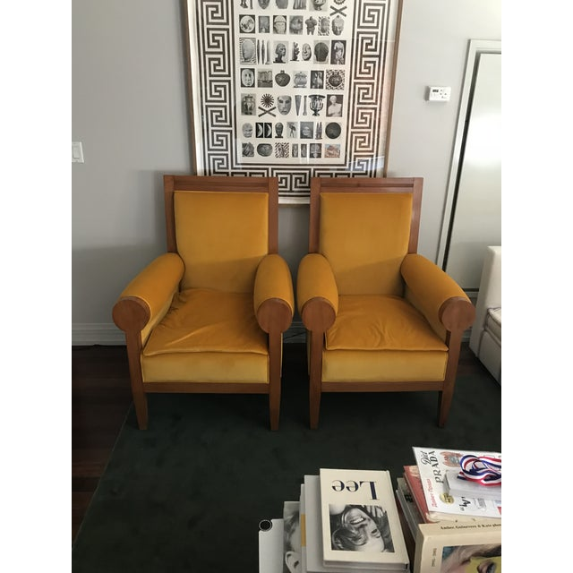 Art Deco Pair of Italian Art Deco Yellow Velvet Chairs - Reupholstered For Sale - Image 3 of 3