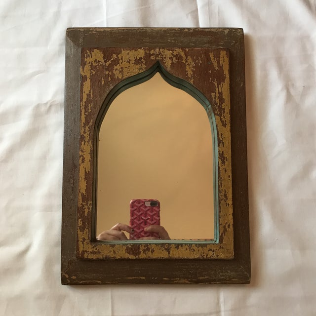 Vintage Indian archway mirror with distressed painted teak frame. Purchased in India. No maker's mark. Some wear and chips.
