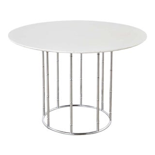 Midcentury Faux Bamboo Chrome and Formica Dining Table For Sale