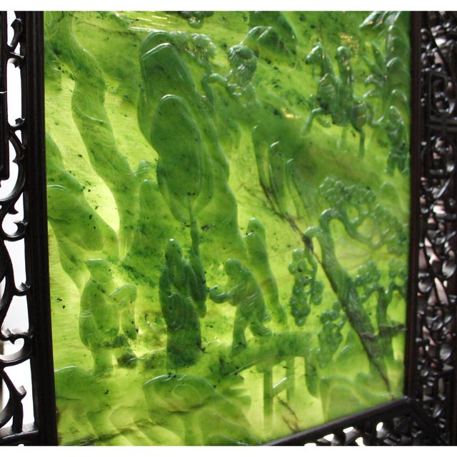 Chinese Vintage Spinach Green Stone Scenery Carving Table Top Wall Panel Displa For Sale - Image 11 of 13