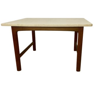 Dux Teak and Travertine Marble Lamp Table by Folke Ohlsson For Sale