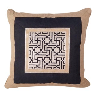 Hand Painted Navy & Gold Linen Pillow