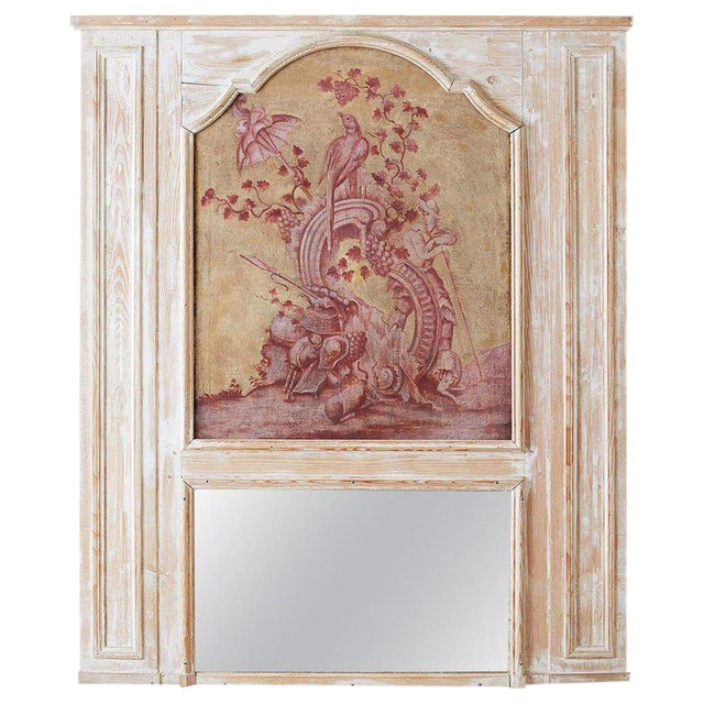 19th Century French Provincial Painted Trumeau Mirror For Sale