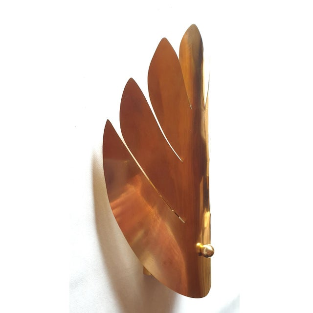 Maison Jansen Brass Stylized Leaf Mid Century Modern Sconces, France 1970s, 2 Pairs For Sale - Image 4 of 9